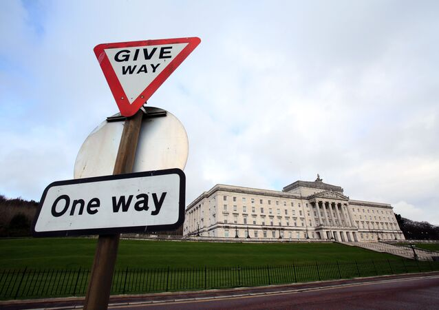 A picture shows the Parliament Buildings, the seat of the Northern Ireland Assembly, on the Stormont Estate in Belfast, Northern Ireland, on March 4, 2017