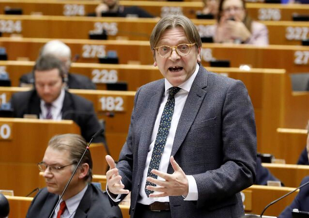 The European Union's chief Brexit negotiator Guy Verhofstadt addresses the European Parliament after European Commission President Jean-Claude Juncker presented a white paper in Brussels.