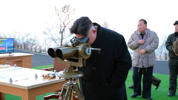 North Korean leader Kim Jong Un supervised a ballistic rocket launching drill of Hwasong artillery units of the Strategic Force of the KPA on the spot in this undated photo released by North Korea's Korean Central News Agency (KCNA) in Pyongyang March 7, 2017 - Sputnik International
