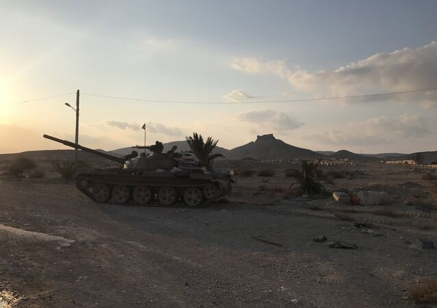 A T-62 tank is seen here in the environs of Ancient Palmyra in Homs Governorate, Syria