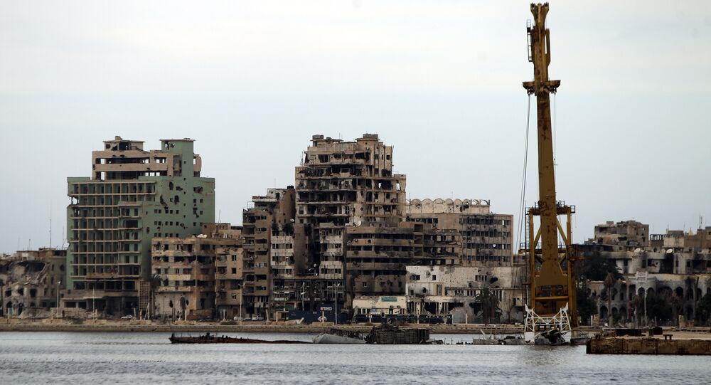 A general view shows destroyed buildings in Libya's eastern coastal city of Benghazi (file)