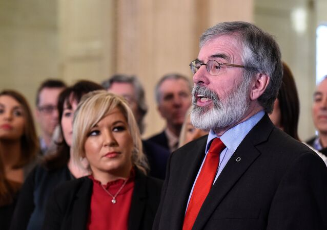 Sinn Fein leader Michelle O'Neill and Sinn Fein President Gerry Adams speak to media and introduce the new Sinn Fein Assembly team at Parliament buildings in Belfast, Northern Ireland March 6, 2017.