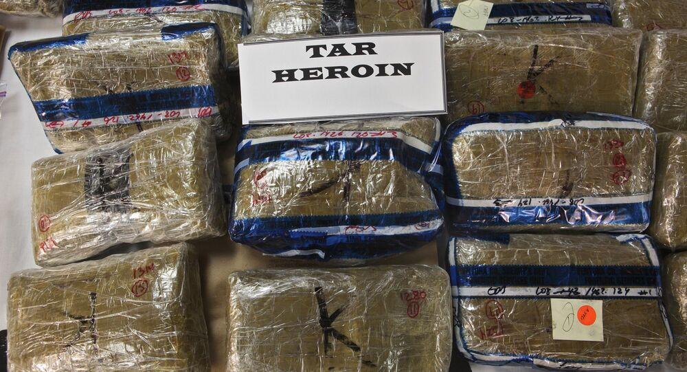 Mexican tar heroin seized in different raid operations at the Ventura County Sheriff's Department Jail Annex Building, in Ventura, Calif. (File)