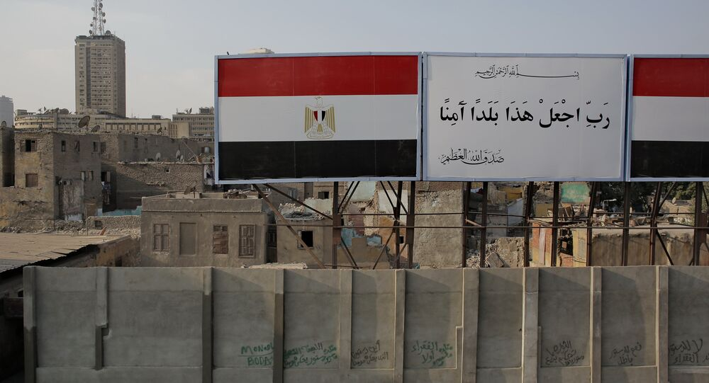 Banners with the Egyptian flag in Cairo's Bulaq district (file)