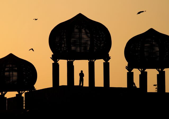 A Pakistani observes the view from a dome-shaped terrace at a park in Islamabad, Pakistan