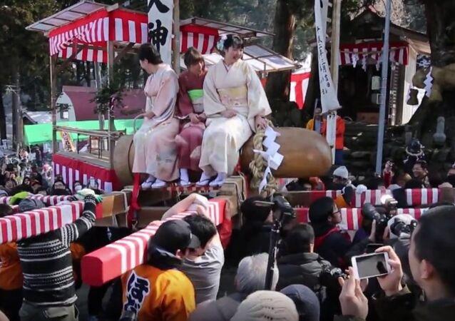 Japan's Hodare Festival: Newlywed Women Ride Giant Wooden Phallus