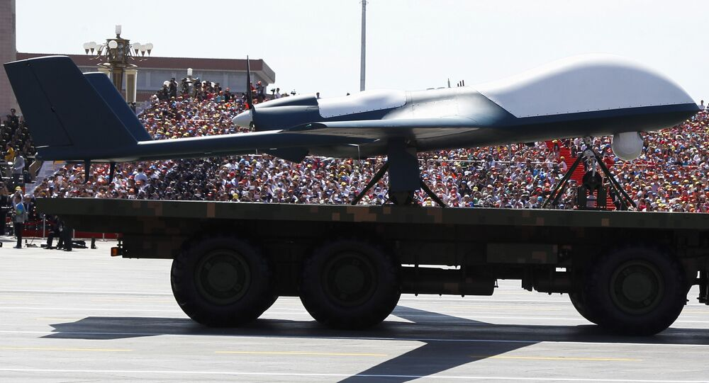A Chinese unmanned aerial vehicle is presented during a military parade in Tiananmen Square in Beijing (file)