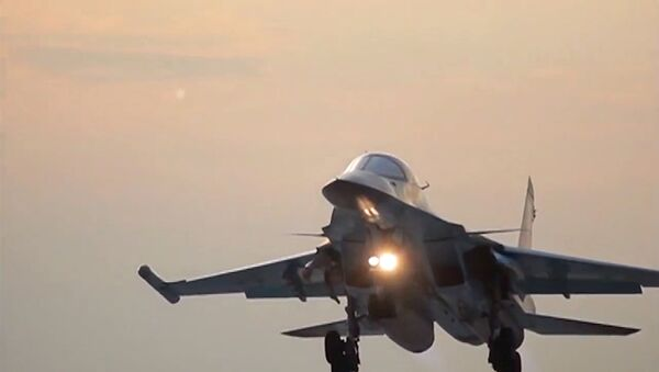 Russia's Sukhoi Su-34 Fullback tactical bomber returns to the Hamadan air base after the air strikes on Daesh sites in Syria. (File) - Sputnik International