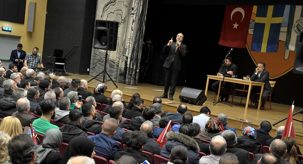 Turkish politician Mehmet Mehdi Eker is pictured during a campaign meeting in Fittja in southern Stockholm, Sweden, March 12, 2017.