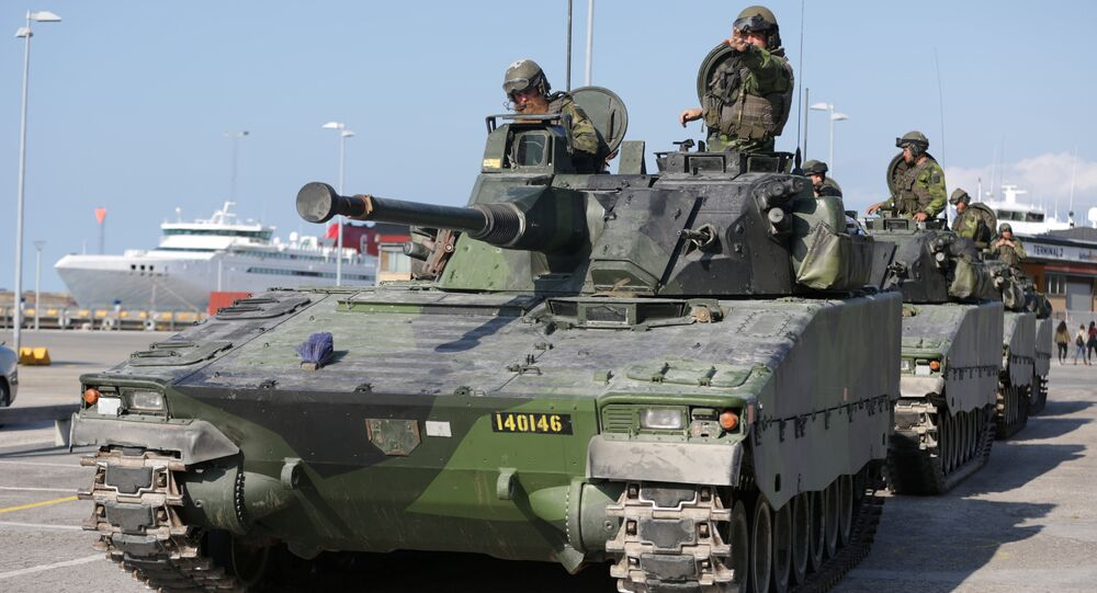 Swedish armoured personnel carriers are seen in Visby harbour, island of Gotland, Sweden September 14, 2016. Picture taken September 14, 2016.