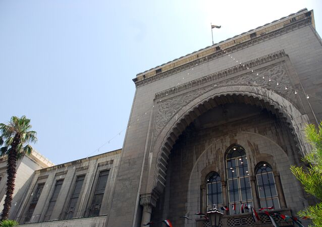 A general view shows the court house in Damascus, Syria
