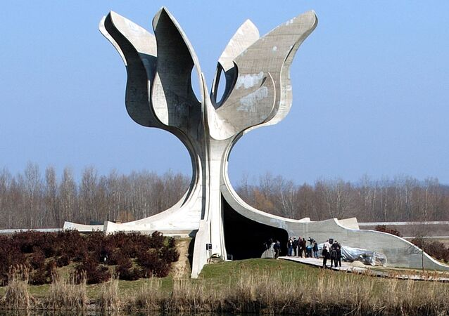 The monument for thousands of Jews, Serbs, Gypsies and anti-fascist Croats tortured and killed in Jasenovac concentration camp 1941-45 (File)