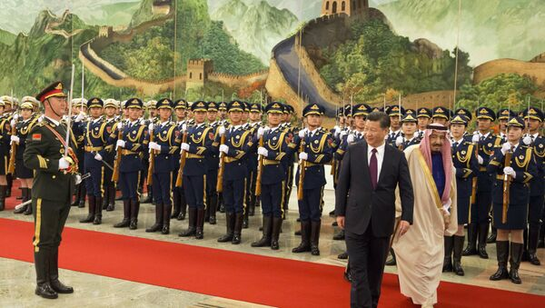 Chinese President Xi Jinping, second from right, and Saudi Arabia's King Salman, right inspect a Chinese guard of honor during a welcome ceremony in Beijing, China, Thursday, March 16, 2017 - Sputnik International