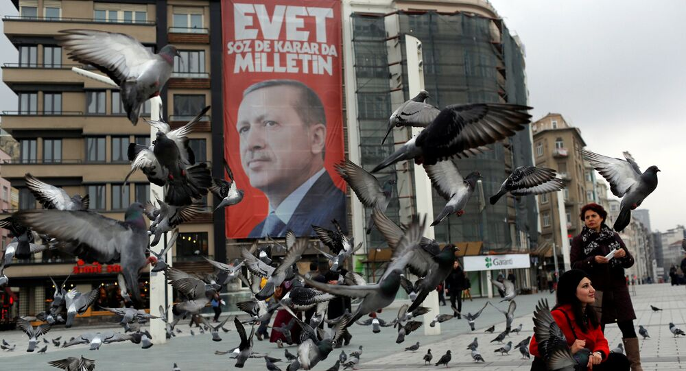 A campaign banner for the upcoming referendum with the picture of Turkish President Tayyip Erdogan is seen on Taksim square in central Istanbul, Turkey March 15, 2017