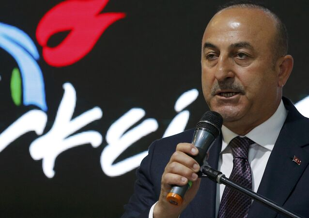 Turkish Foreign Minister Mevlut Cavusoglu at the International Tourism Trade Fair ITB in Berlin, Germany, March 8, 2017.