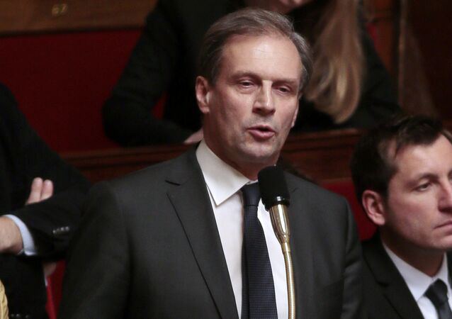 UMP right-ring party's member of Parliament Jacques Lamblin speaks during a session of questions to the government on February 4, 2014 at the National Assembly in Paris