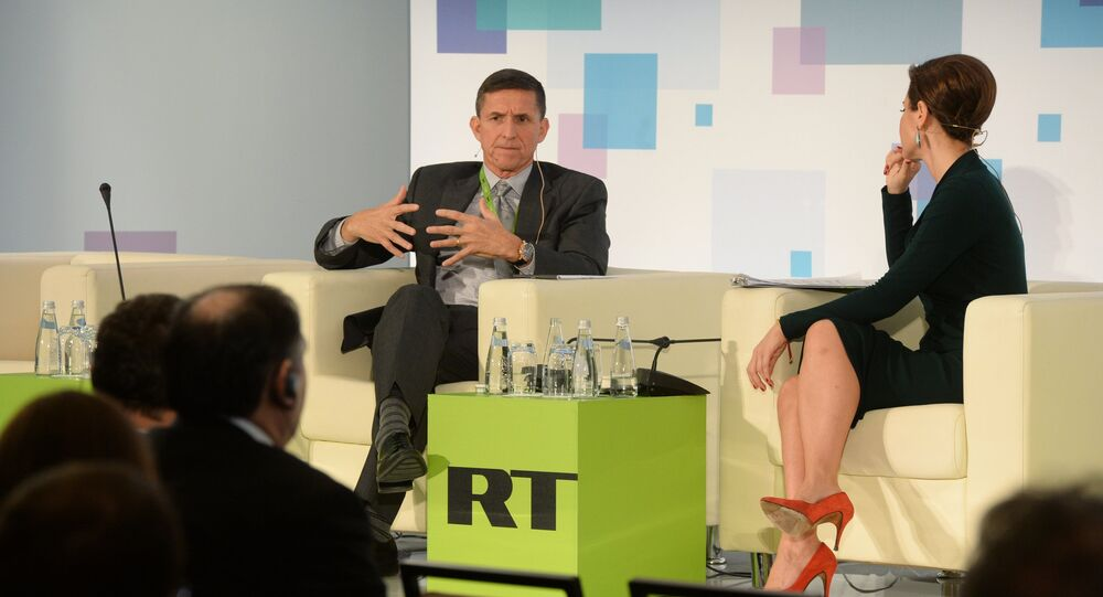 Michael Flynn, ex-director of the US Defense Intelligence Agency (2012-2014) at the RT conference Information, messages, politics: the shape-shifting powers of today's world.