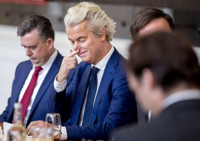 Dutch PVV leader Geert Wilders is seen prior to a meeting between main parties leaders and the Chairman of the Senate in The Hague, on March 16, 2017, one day after the general elections