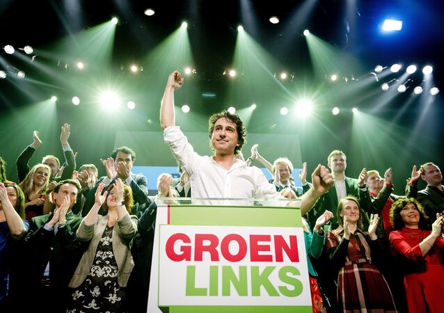 Leader Jesse Klaver of GroenLinks reacts during election night in Amsterdam, on March 15, 2017