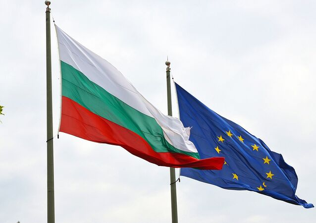 Bulgarian and EU flags. The Balkan nation joined the supranational union in 2007.