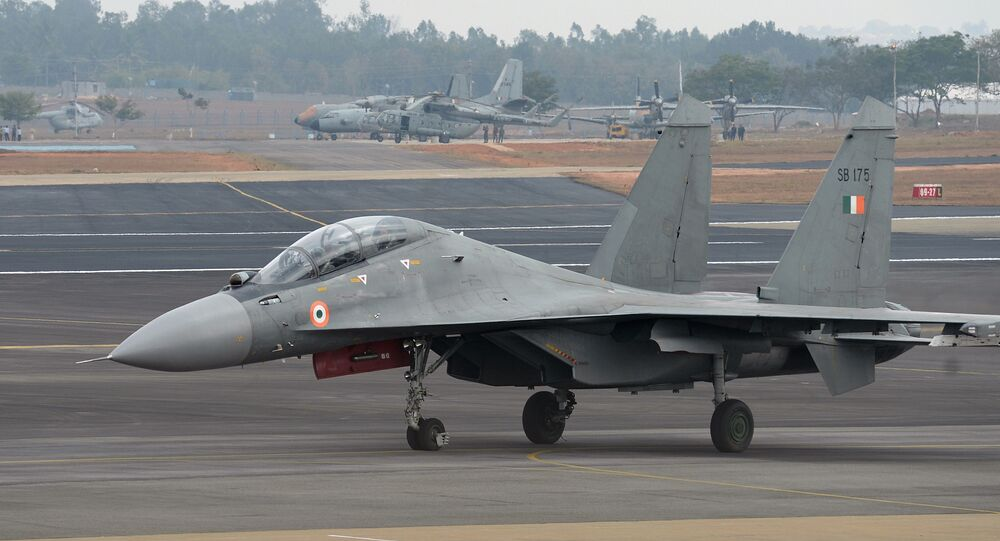 A Sukhoi Su-30MKI combat aircraft of the Indian Air Force takes part in the inaugural day of the 11th edition of 'Aero India', a biennial air show and aviation exhibition, in Bangalore on February 14, 2017