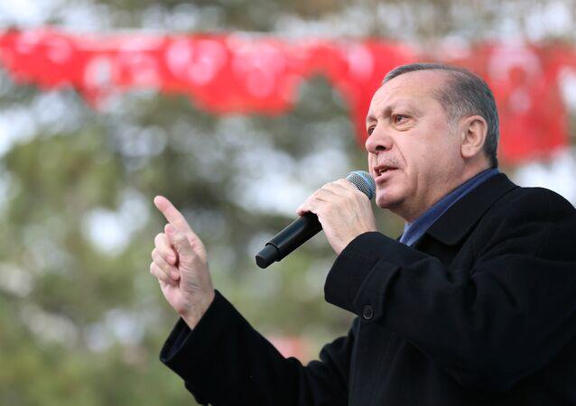 Turkish President Tayyip Erdogan speaks during a ceremony in Eskisehir, Turkey, March 17, 2017