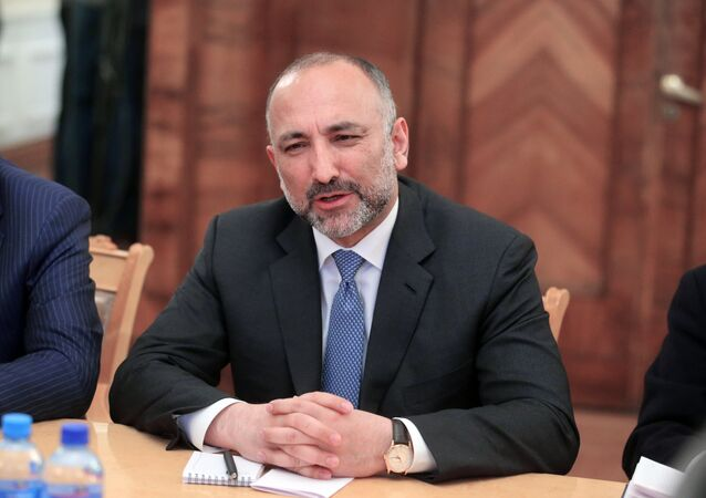 Afghanistan President's national security advisor Hanif Atmar during a meeting with Russian Foreign Minister Sergei Lavrov at the Russian Foreign Ministry's Reception House