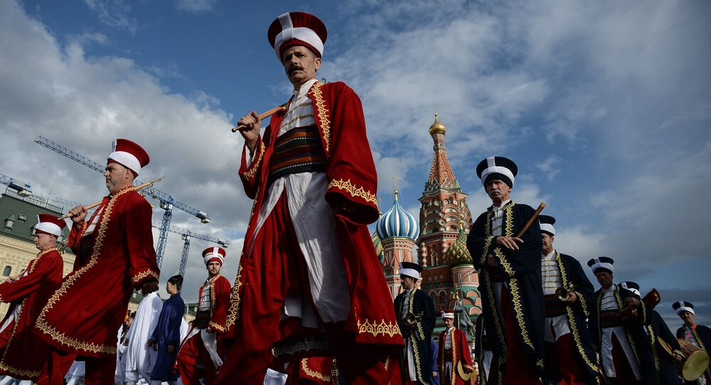 Mehter Band from Iznik (Turkey) during a rehearsal of the opening of the Spasskaya Tower International Military Orchestra on Red Square in Moscow