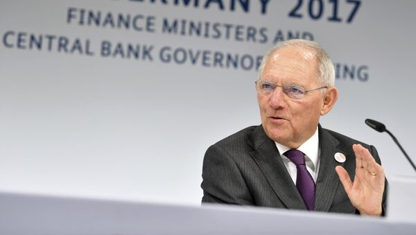German Finance Minister Wolfgang Schaeuble speaks during a news conference during the G20 finance ministers meeting in Baden-Baden, southern Germany, Saturday, March 18, 2017 - Sputnik International
