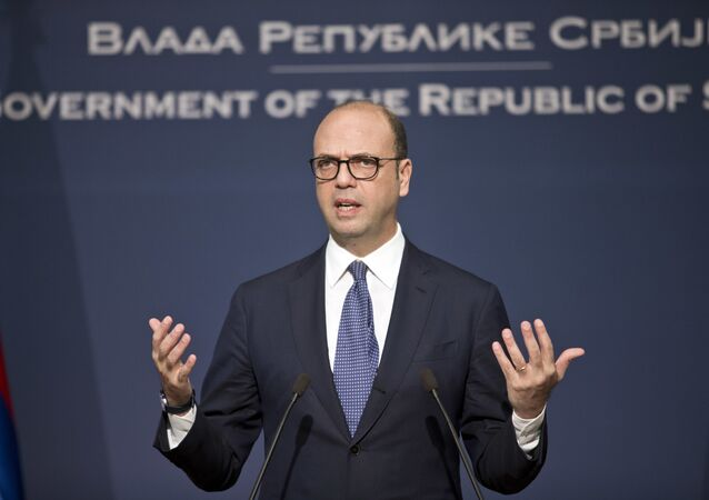 Angelino Alfano, the Italian Foreign Minister, gestures as he speaks at a press conference in Belgrade, Serbia, Tuesday, March 14, 2017
