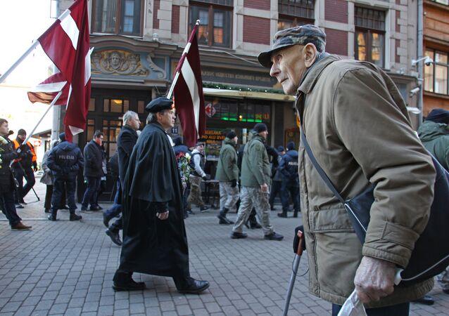Waffen-SS veterans march in Riga