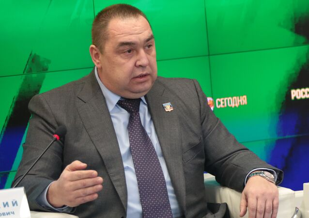 Leader of the LPR Igor Plotnitsky at a press conference in multimedia press center MIA Rossiya Segodnya in Simferopol