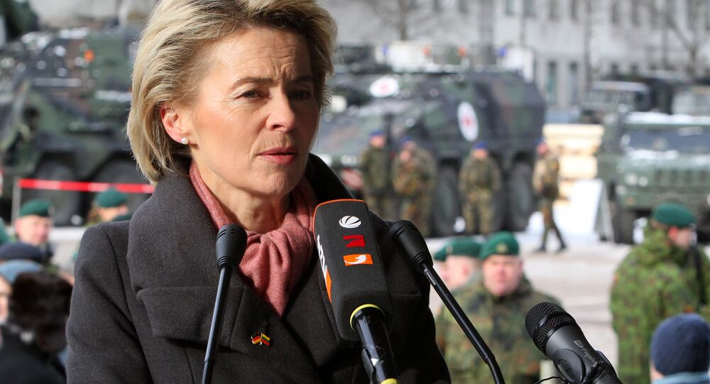 German Defence Minister Ursula von der Leyen speaks during a press conference after the official welcome ceremony for the arrival of first troops of the NATO enhanced Forward Presence (eFP) battalion battle group in Rukla, Lithuania, on February 7 , 2017
