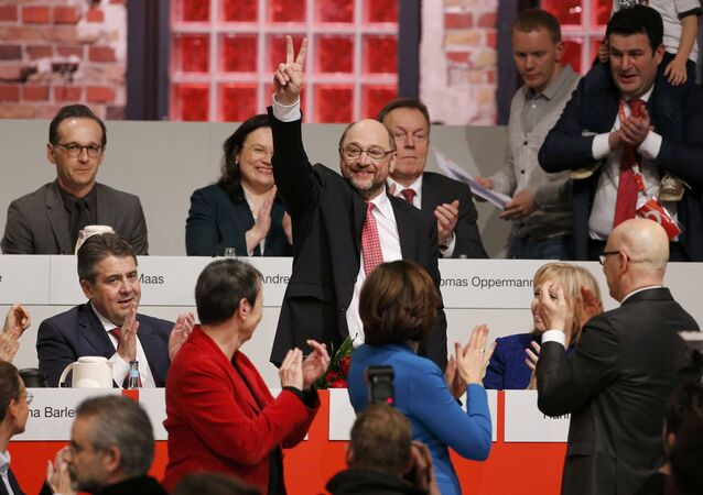 Martin Schulz reacts after he was elected new Social Democratic Party (SPD) leader during an SPD party convention in Berlin, Germany, March 19, 2017