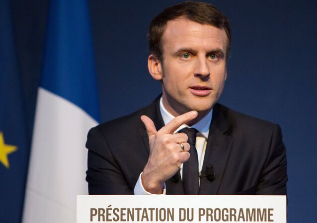 French presidential candidate Emmanuel Macron presents his program