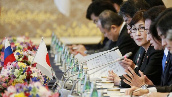 Japanese Defense Minister Tomomi Inada during two-plus-two talks between defense and foreign ministers of Japan and Russia, in Tokyo. - Sputnik International