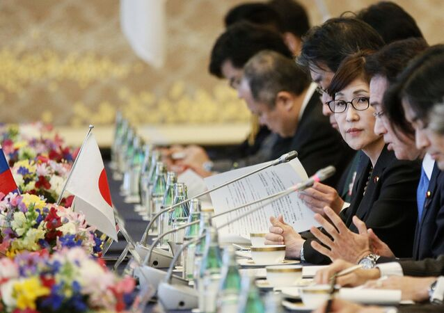Japanese Defense Minister Tomomi Inada during two-plus-two talks between defense and foreign ministers of Japan and Russia, in Tokyo.