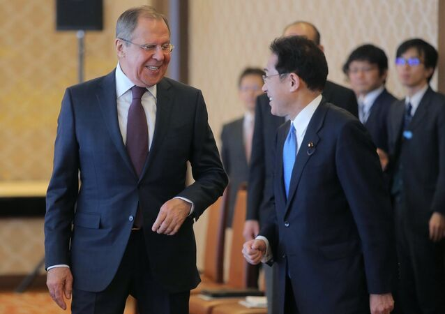 Japanese Foreign Minister Fumio Kishida and Russian Foreign Minister Sergei Lavrov, left, during a meeting held as part of Lavrov's visit to Japan.