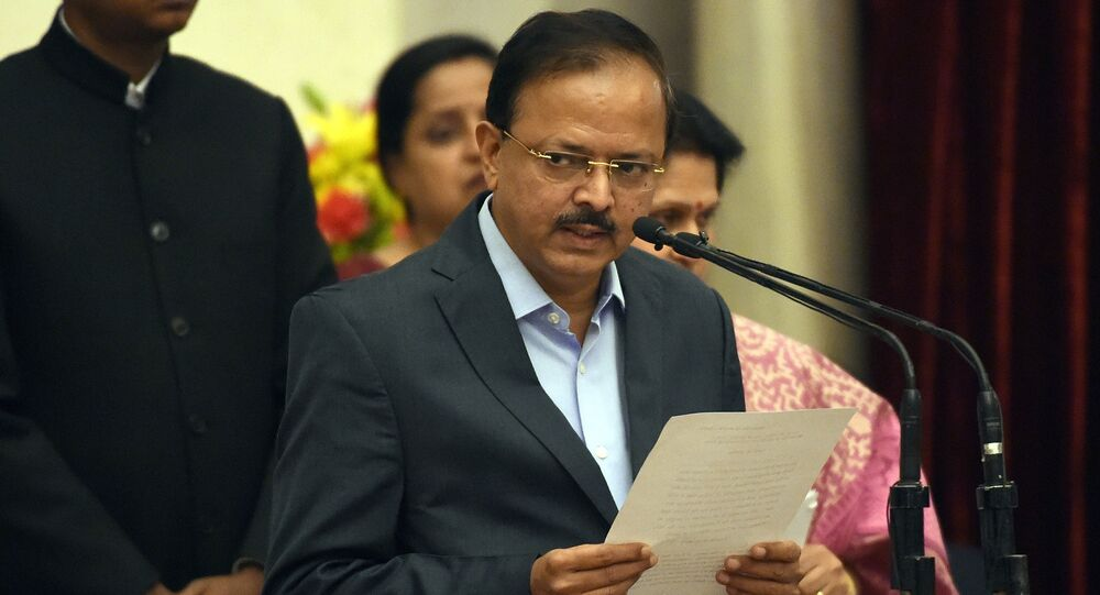 Bharatiya Janata Party (BJP) politician, Subhash Ramrao Bhamre takes the oath during the swearing-in ceremony of new ministers following Prime Minister Narendra Modi's cabinet re-shuffle, at the Presidential Palace in New Delhi