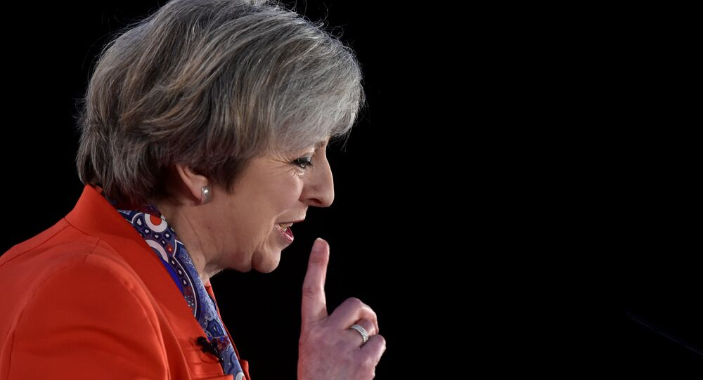 Britain's Prime Minister Theresa May speaks at the Conservative Party's Spring Forum in Cardiff, Wales, March 17, 2017.