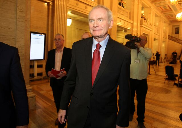 FILE PHOTO: Northern Ireland's former Deputy First Minister Martin McGuinness leaves Assembly at Parliament Buildings in Stormont in Belfast, Northern Ireland, January 16, 2017.