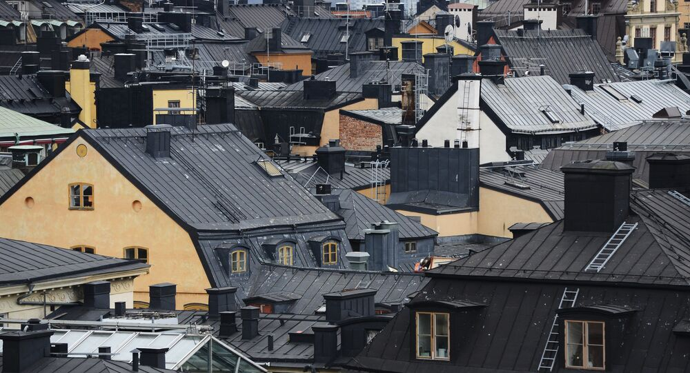 View of Stockholm's old town rooftops from top of a building at the Riddarholmen island in Sweden´s capital