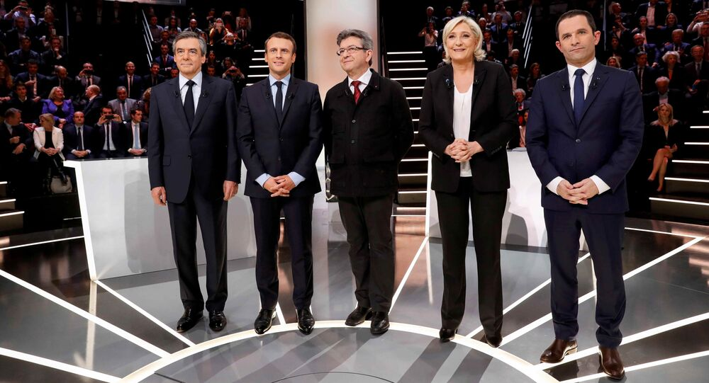 French presidential election candidates (LtoR) Francois Fillon, Emmanuel Macron, Jean-Luc Melenchon, Marine Le Pen and Benoit Hamon, pose before a debate organised by French private TV channel TF1 in Aubervilliers, outside Paris, France.