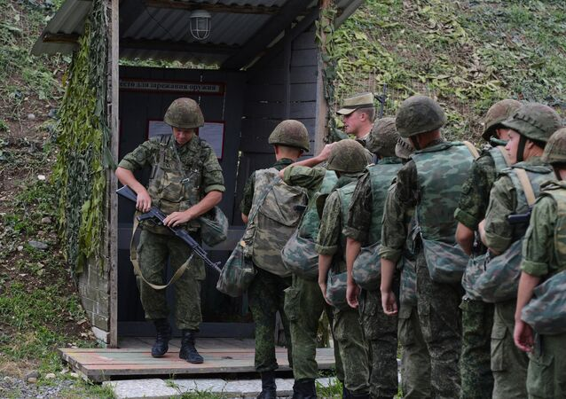 Russian troops during exercises at the Kanchaveli advanced outpost. (File)