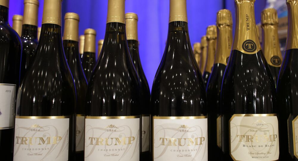 Trump branded wine is displayed prior to a scheduled news conference by Republican presidential candidate Donald Trump, Tuesday, March 8, 2016