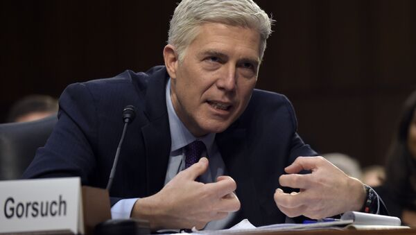 Supreme Court Justice nominee Neil Gorsuch testifies on Capitol Hill in Washington, Tuesday, March 21, 2017, during his confirmation hearing before the Senate Judiciary Committee. - Sputnik International
