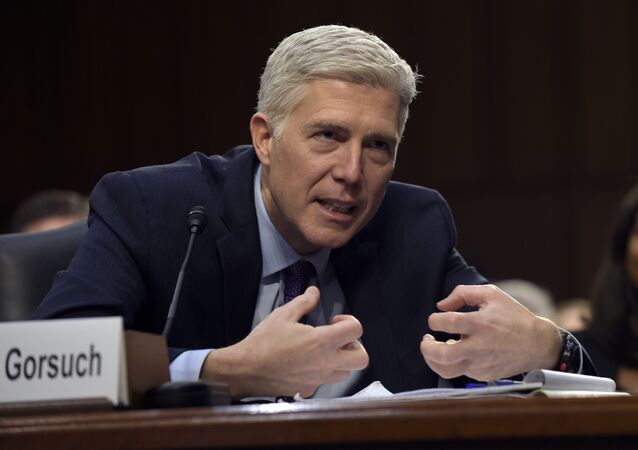 Supreme Court Justice nominee Neil Gorsuch testifies on Capitol Hill in Washington, Tuesday, March 21, 2017, during his confirmation hearing before the Senate Judiciary Committee.