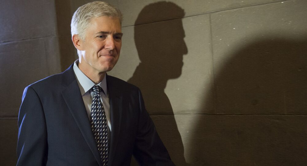 Supreme Court nominee Judge Neil Gorsuch arrives for a meeting at the US Capitol in Washington, DC