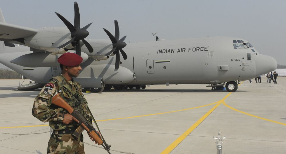 An Indian soldier stands guard in front of the first of the six C-130J Super Hercules, a US military aircraft manufactured by Lockheed Martin. (File)