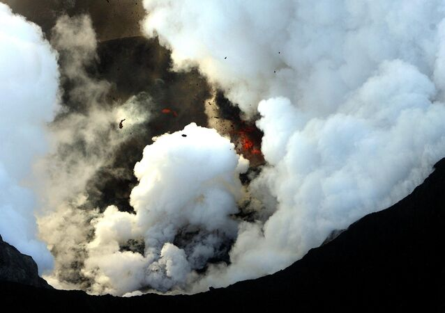 Activity is seen from the volcano in southern Iceland's Eyjafjallajokull glacier, Wednesday, April 21, 2010